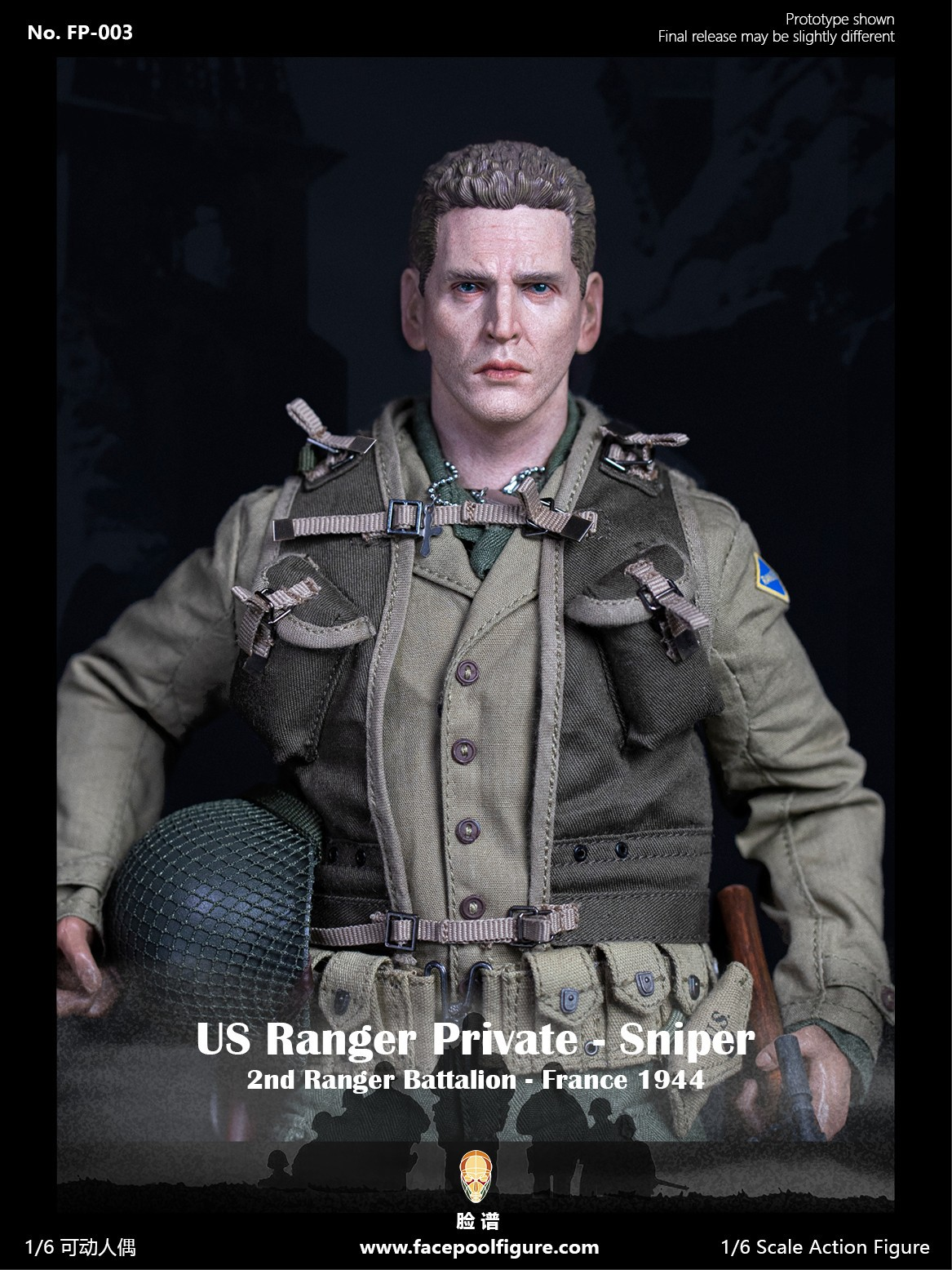FACEPOOL FIGURE WWII US RANGER PRIVATE SNIPER - FRANCE
